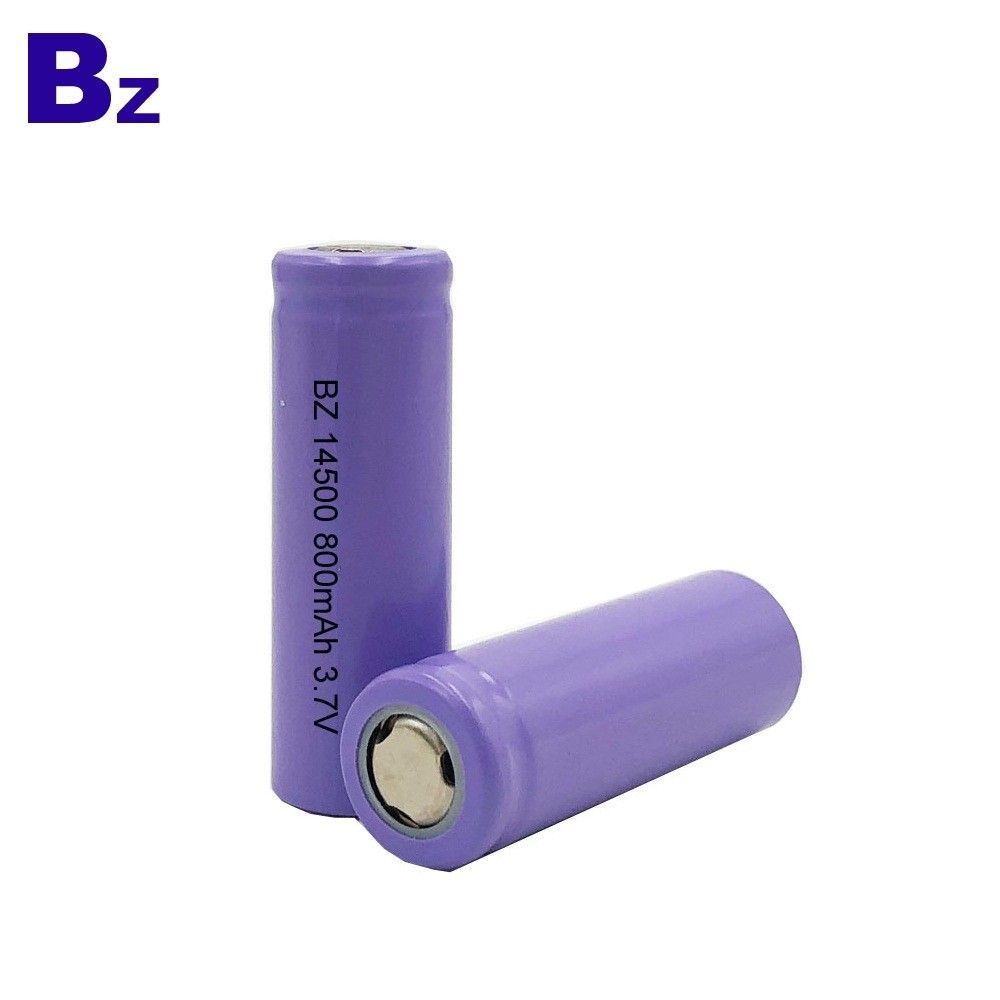 Customized Hot Selling Cylindrical Battery BZ 14500 800mAh 3.7V Rechargeable Li-ion Battery
