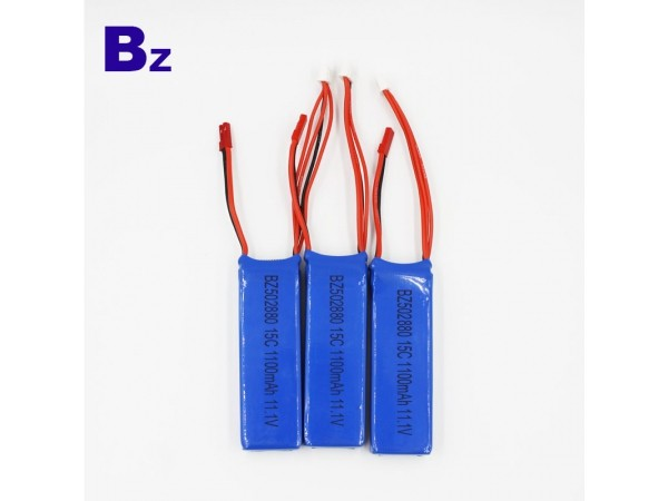 High Rate Battery - BZ 502880 - 1100mah - 15c - 11.1v - 3S - Lithium Ion Battery