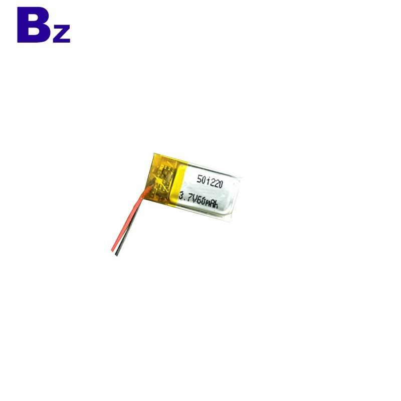 501120 60mah 3.7V Rechargeable Li-Ion Battery