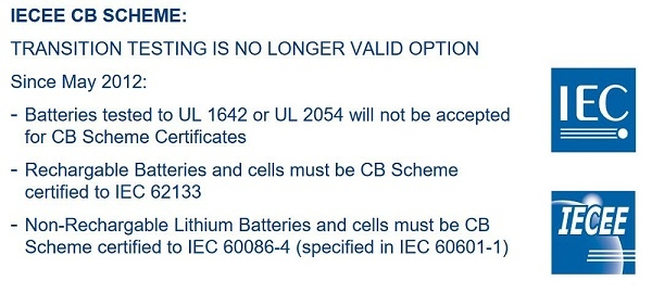 Lithium Battery CB certification