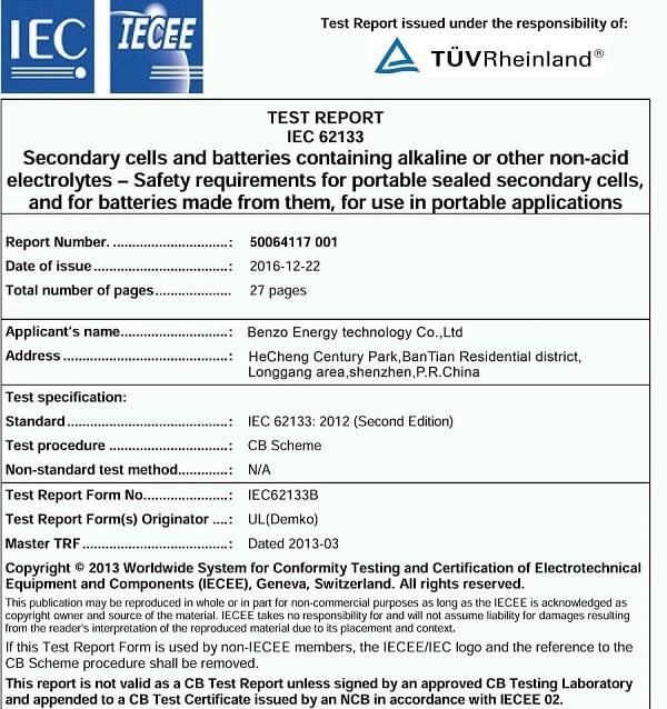 Li-ion battery Test report IEC 62133