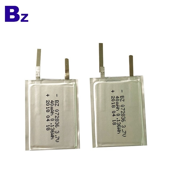 China Lithium Battery Manufacturer OEM BZ 072836 3.7V 40mAh Rechargeable Super-thin Battery