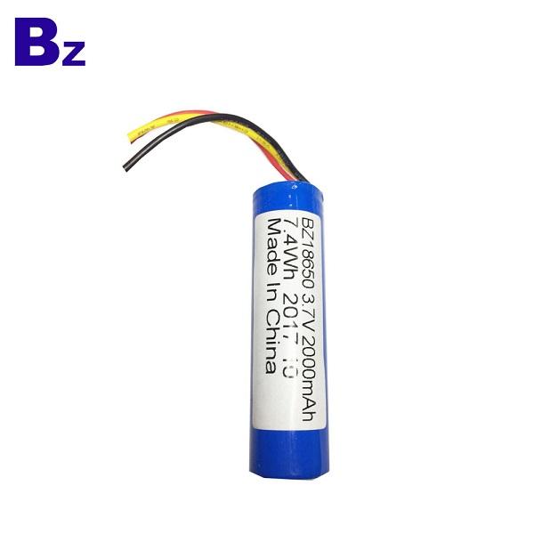 2000mah 3.7V Rechargeable Li-ion Battery